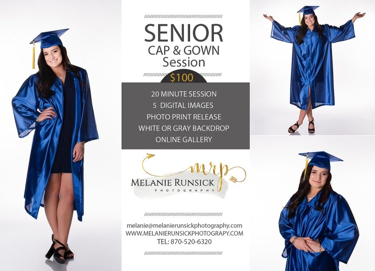 Melanie Runsick Photography Jonesboro Arkansas High School Senior Photographer Cap and Gown Session
