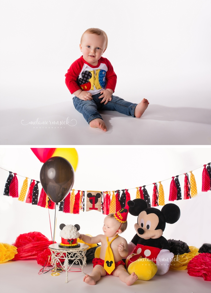 Melanie Runsick Photography Jonesboro Arkansas Cake Smash Photographer Mickey Mouse Cake Smash